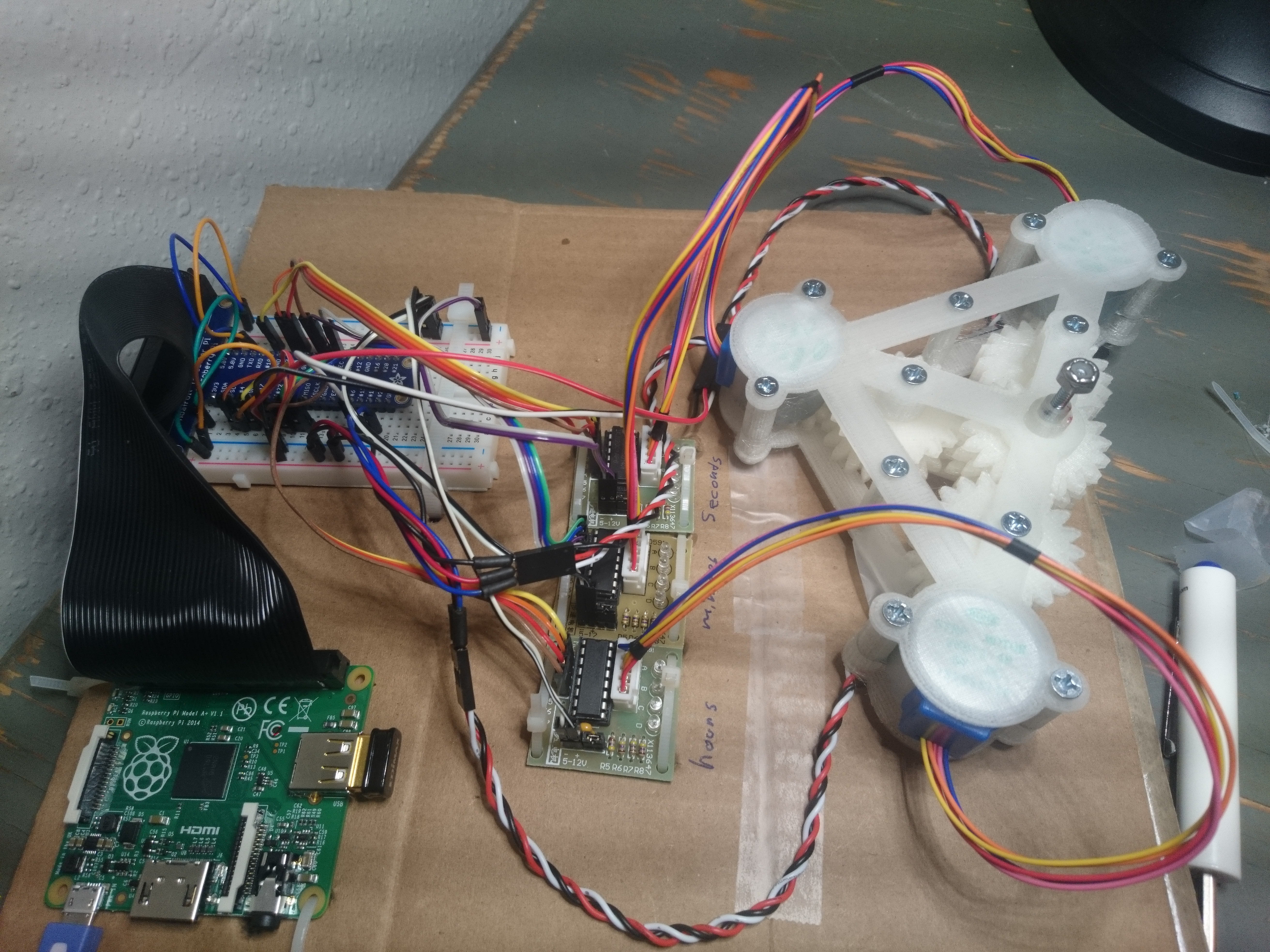 Breadboard, raspberry pi, motor drivers and gearbox all taped to a peice of cardboard.