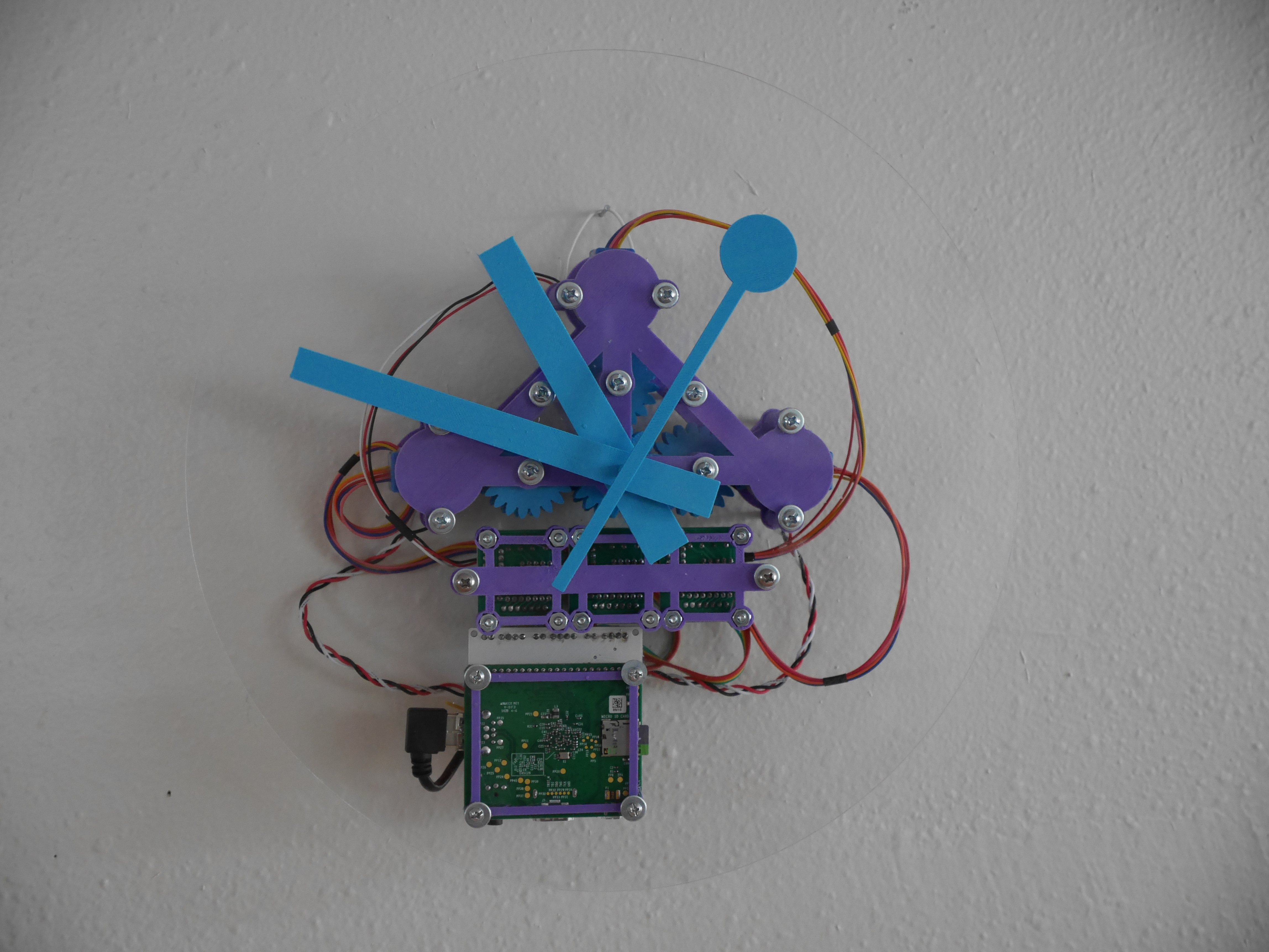 Final clock. Translucent body showing all components including gears and Raspberry Pi.