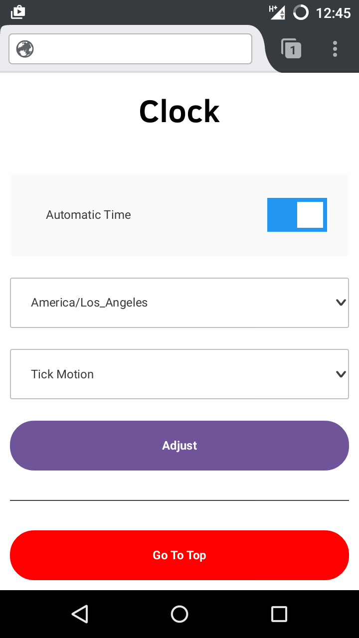 The web interface, with a form to set the time on the clock.